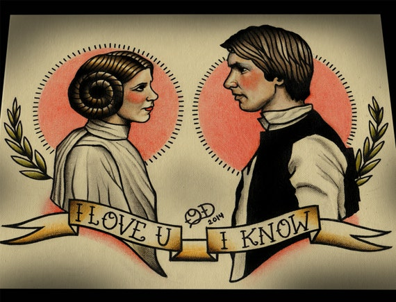 Princess Leia And Han Solo Star Wars Tattoo Art Print Etsy