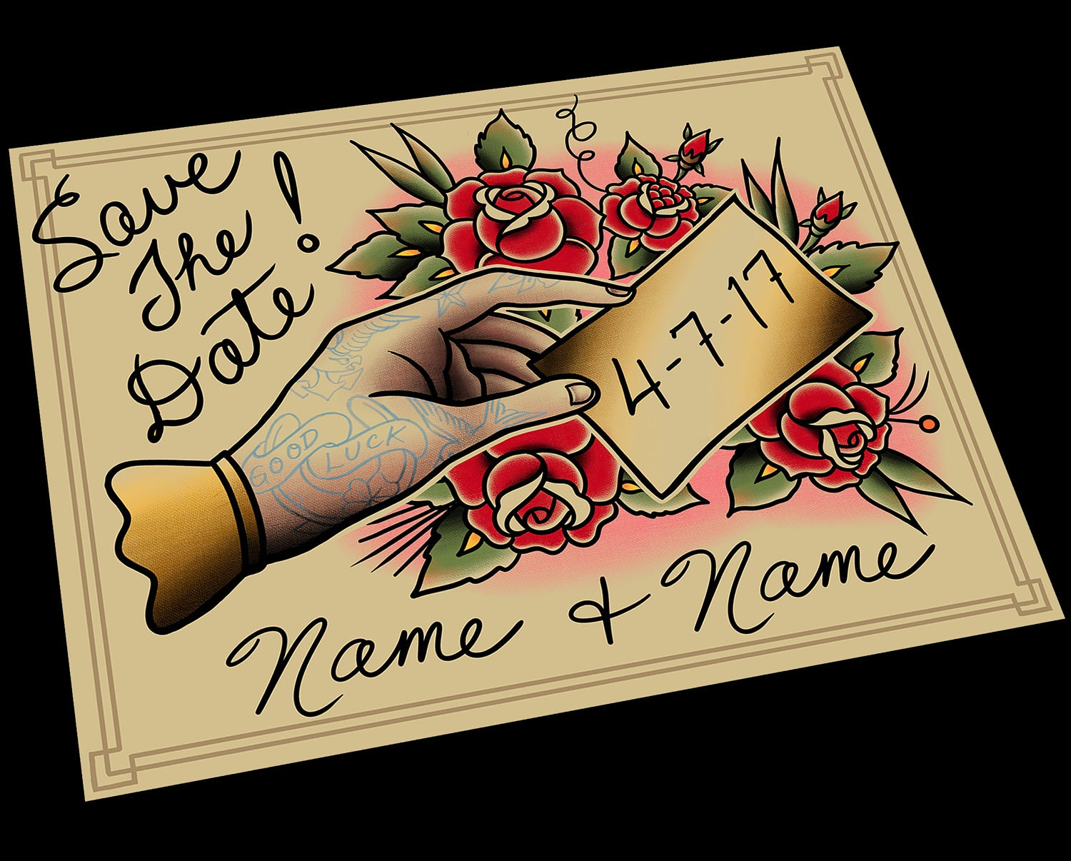 Customizable Save The Date Tattoo Flash Design Cards Or Etsy