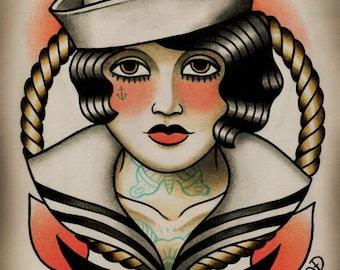 Sailor Girl Tattoo Art Print