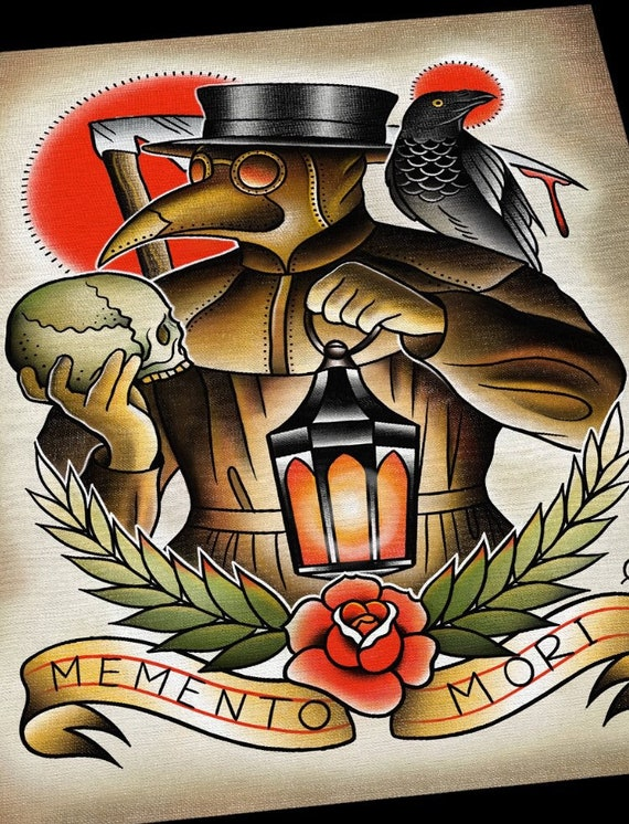 Plague Doctor Memento Mori Tattoo Print Etsy