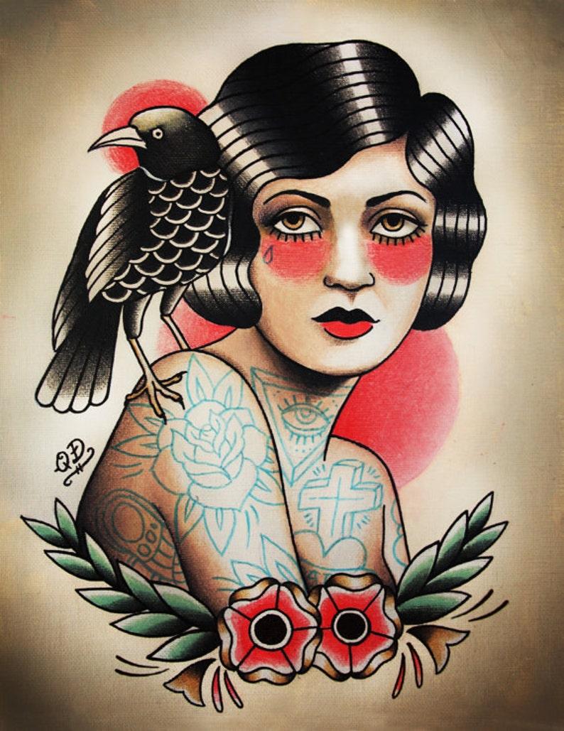 Flapper and Raven Tattoo Art Print image 0