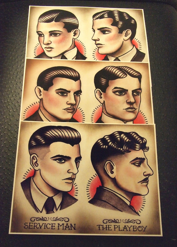 20er Jahre Herren Frisur Barbier Barbe Guide Set Von 3 Etsy