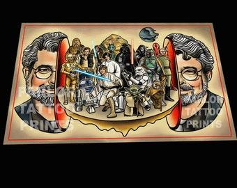 George Lucas Big Head Art Print (11x17)