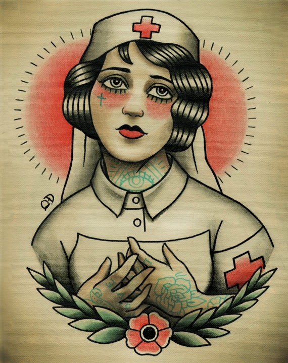 Traditional Tattoo Flash HEAVY is HER HEAD Original Watercolor Painting
