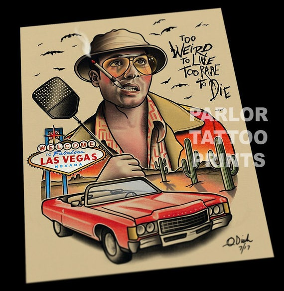 Fear And Loathing In Las Vegas Tattoo Art Flash Print Etsy