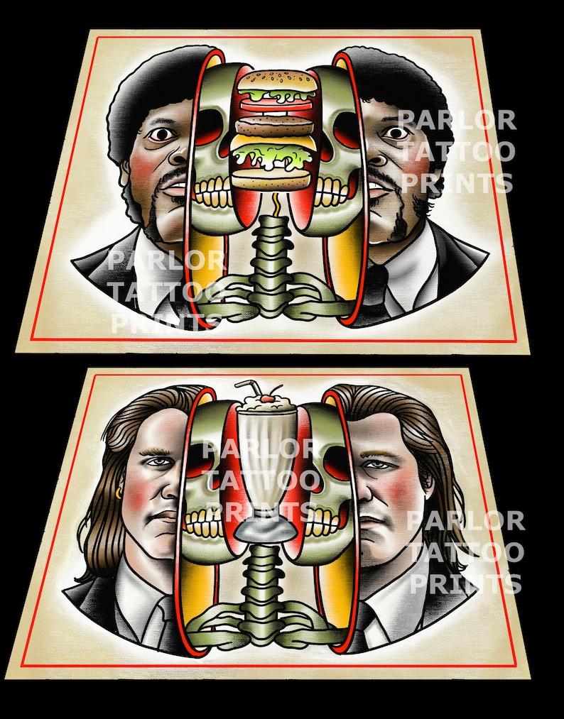 2879733d62888 Pulp Fiction Vince Vega or Jules Winnfield Tattoo Flash Art | Etsy