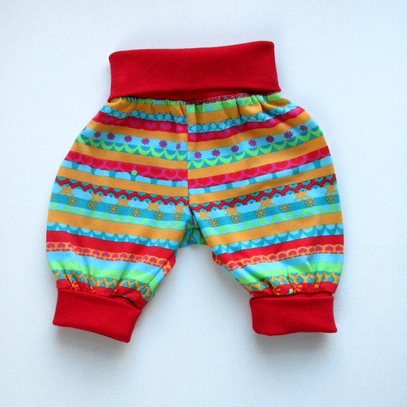 Organic baby harem pants in Lillestoff stripes sizes 0-3 months ready made