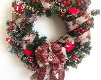 Lighted Cardinal Holiday Wreath