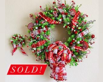 Merry Grinchmas! Candy Cane Wreath (with fairy lights and mini wreath!)