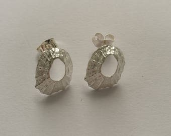 Tiny Marazion Sterling Silver Limpet Stud Earrings