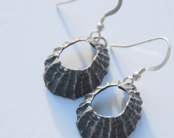 Prussia Cove Oxidised Silver Limpet Drop Earrings