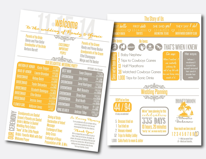 Benutzerdefinierte Infografik Hochzeitsprogramm | Etsy