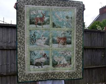 Arctic animals baby quilt, nursery new baby gift, cot quilt, crib quilt, play mat, owl fox hare rabbit deer moose quilt, wildlife quilt UK