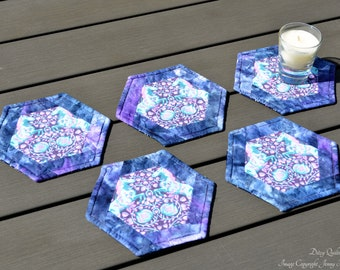 Purple and pink  horse and floral hexagon coasters. Unusal unique home decor. Machine washable reversible UK