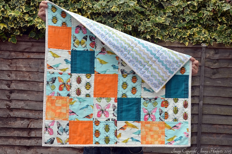 Biology gifts modern contemporary bright baby blanket cot quilt UK quirky Bugs and birds baby quilt unusual new baby gift bug fabric