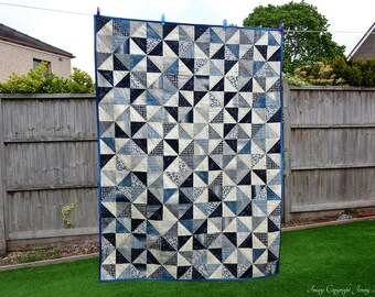 Blue astronomy & constellation lap quilt. Lunar moon phases and stars quilted blanket. Outer space. Janet Clare Nocturne UK