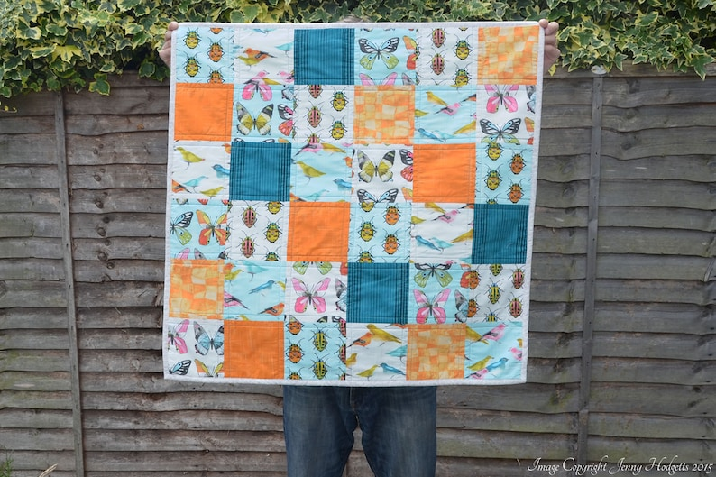 Bugs and birds baby quilt  modern contemporary bright baby image 0