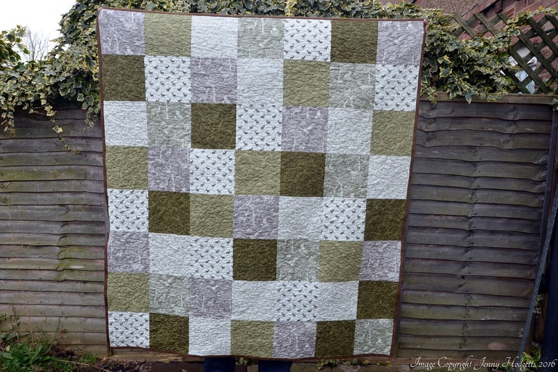 Woodland quilt wildlife quilted throw neutral tones brown image 0