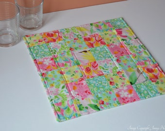 Quilted table topper, floral fabric - modern, contemporary home decor. Bright table topper, square table runner feminine decor. Patchwork UK