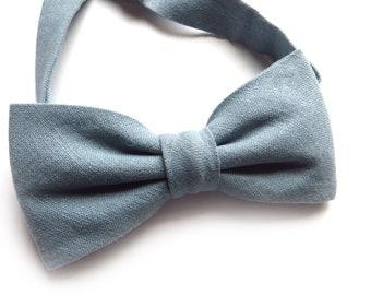 Bow Tie Dusty Blue Self-Tie, Men's Prettied Solid Bow TIe, Ring Bearer Outfit