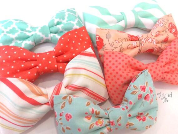 Mismatched Aqua Peach Mixed Matched Wedding Bow Ties Aqua Coral Mixed Matched Bow Ties, Mint Coral Wedding Bow TIes