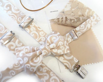 Champagne Suspenders and Bow Tie, Ring Bearer Suspenders, Boys Suspender Set