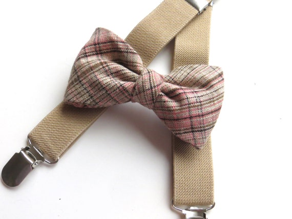 14fdf9894745 ... Pink Plaid Bow Tie, Ring Bearer Outfit, Plaid Bow Tie and Suspenders,  Plaid