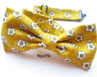Yellow Mustard Floral Bow Tie, Ring Bearer Outfit, Floral Self-Tie