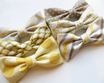 Yellow and Gray Custom Bow Tie, Yellow and Gray Wedding, Ring Bearer Outfit