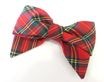 Hair Bow Red Plaid, Holiday Hair Bow, Fabric Hair Bow, Royal Stewart Plaid Hair Bow, Christmas Hair Bow Red Plaid