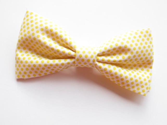 Yellow Bow Tie Polka Dot Man, Yellow Cotton Polka Dot Necktie, Yellow Bow Tie Infant, Yellow Bow Tie Toddler