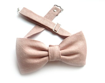 Pink Cameo Linen Bow Tie, Cameo Pink Bow Tie For Wedding, Ring Bearer Outfit