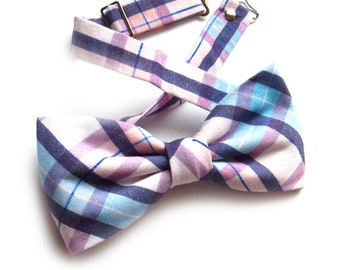 Dusty Blue Quartz Blush Plaid Bow Tie, Ring Bearer Outfit, Groomsmen Bow Tie, Easter Bow Tie