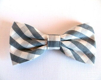 Gray Check Bow Tie, Gray Gingham Bow Tie, Men's Gray Bow Tie, Gray Wedding Bow Tie, Gray Baby Bow Tie