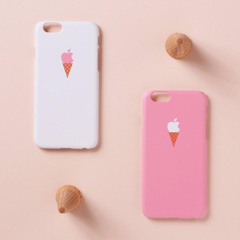 Iphone Iphone Custodia Gelato Caso Rosa Sfondo Xs Iphone Etsy