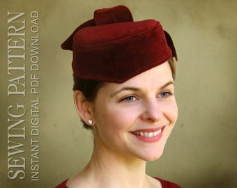 a0aceece0bb SEWING PATTERN - Ginger - 1940 s Forties Pillbox Cocktail Hat - PDF Download