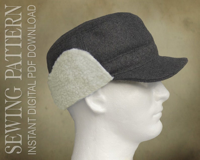1930s Style Mens Hats and Caps SEWING PATTERN - Caedmon Trapper Cap Cadet Cap with Ear Flap Unisex for Child or Adult - PDF Download  AT vintagedancer.com