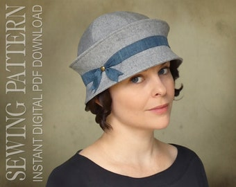 SEWING PATTERN - Freya, 1920s Twenties Cloche Fabric Hat for Child or Adult - PDF Download
