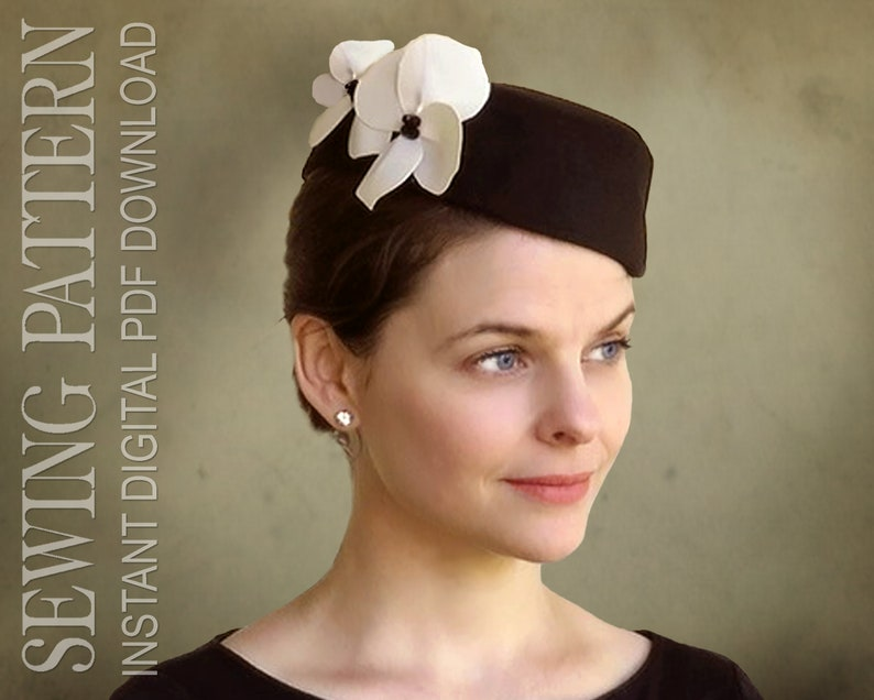 1940s Style Hats   Fascinator, Turban, Fedora SEWING PATTERN - Ginger - 1940s Forties Pillbox Cocktail Hat - PDF Download  AT vintagedancer.com