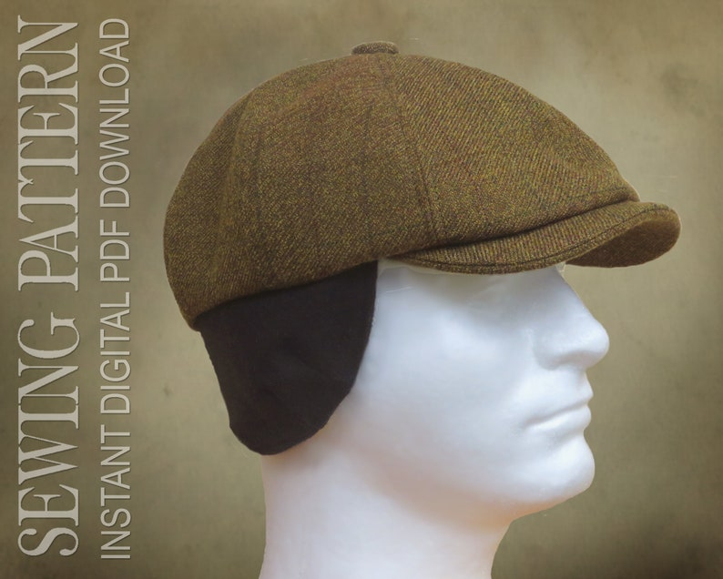 Men's Vintage Workwear Inspired Clothing SEWING PATTERN - Taylor 1920s Gatsby Newsboy Driving Cap for Child or Adult with optional ear warmer flap - PDF Download  AT vintagedancer.com