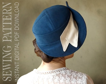 SEWING PATTERN - Umbria, 1940s Forties Bonnet Fabric Hat for Child or Adult - PDF Download