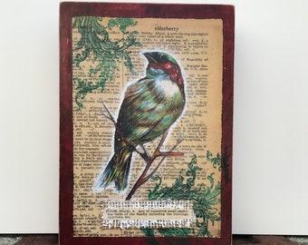 Finch original mixed media art, sparrow bird art, vintage dictionary page, mixed media painting, original art, wood panel, illustration bird