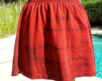 Red and Black Striped Izod Vintage Mini Skater Skirt with zipper pocket and hidden shorts Mellow-Core Hypewear