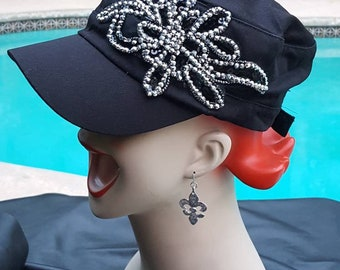 Awesome distressed military cadet style cap vintage patches peace sign flower punk rocker fabulous hat gothic dope sick biker bling gorgeous