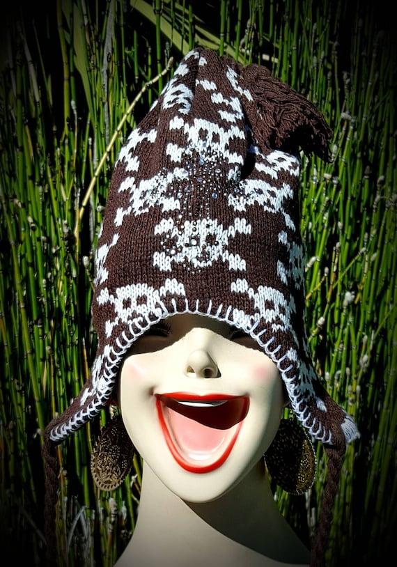 Green Mix WOOL EAR FLAP FESTIVAL SKI HAT with STAR PATTERN Fleece Lining