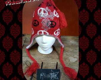 Red PEACE SIGN, Elf hoodie, Rhinestone Cross, Festival, Swarovski crystals, Church,religion, ski hat, bling ski cap, snow, bling cross,pixie