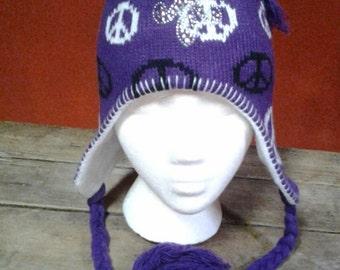 Purple PEACE SIGN, Earflap Knit Hat, Silver Studs Fleur-de-lis,Saints,festival hat, ski hat, bling ski cap, snow, purple peace ski hat 70's