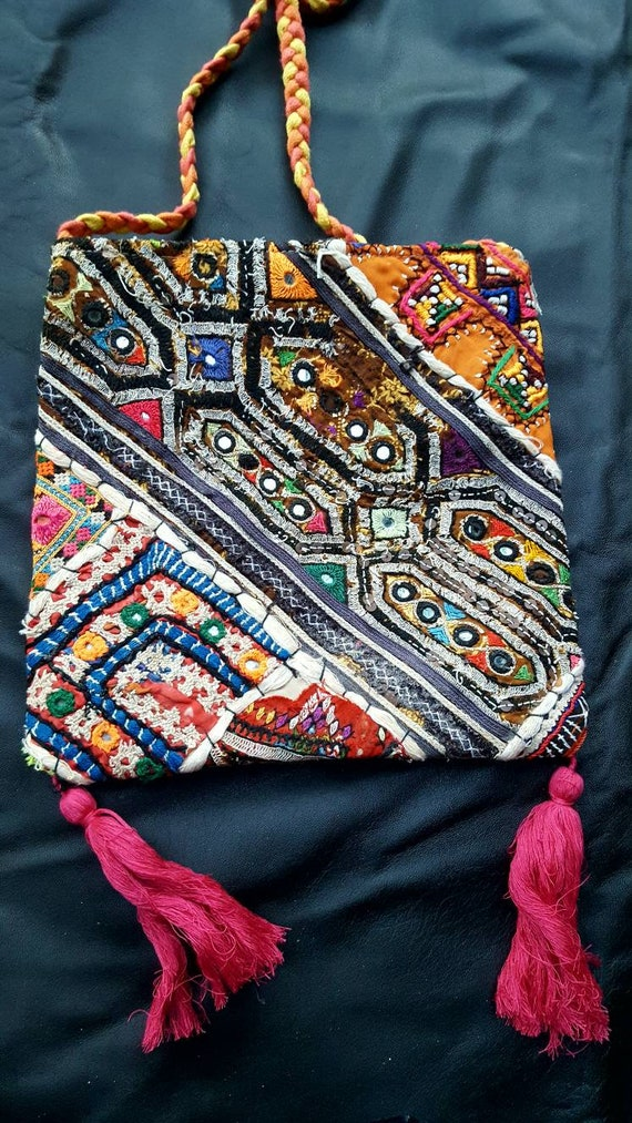 Awesome vintage hippie patchwork embroidered cross