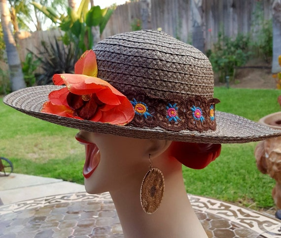Handmade Boho Hat Widebrimmed Recycled Textiles