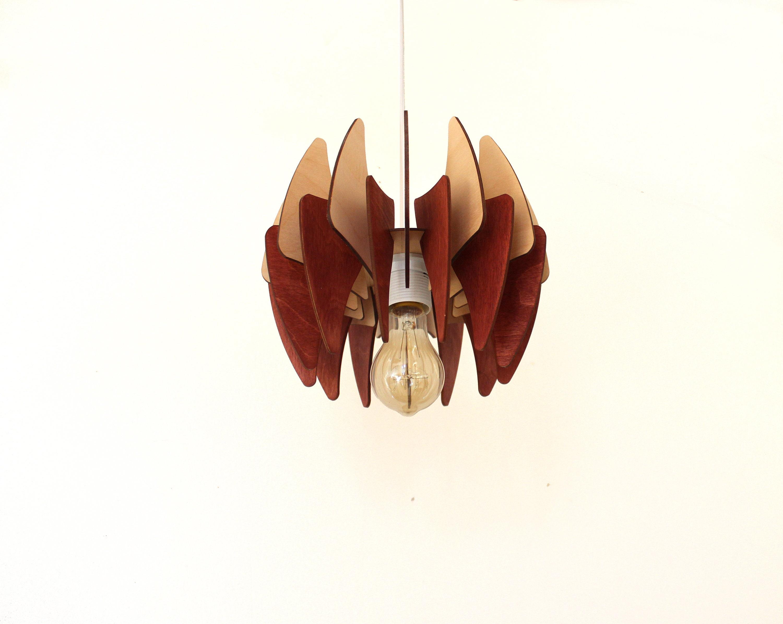 Luce pendente lampada in legno illuminazione a soffitto